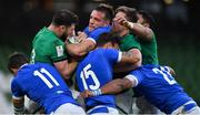 24 October 2020; Robbie Henshaw of Ireland contests possession with Edoardo Padovani of Italy during the Guinness Six Nations Rugby Championship match between Ireland and Italy at the Aviva Stadium in Dublin. Due to current restrictions laid down by the Irish government to prevent the spread of coronavirus and to adhere to social distancing regulations, all sports events in Ireland are currently held behind closed doors. Photo by Brendan Moran/Sportsfile