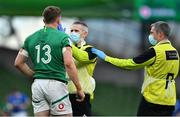 24 October 2020; Garry Ringrose of Ireland is attended to by  team doctor Dr Ciaran Cosgrave and team physio Keith Fox before leaving the pitch with an injury during the Guinness Six Nations Rugby Championship match between Ireland and Italy at the Aviva Stadium in Dublin. Due to current restrictions laid down by the Irish government to prevent the spread of coronavirus and to adhere to social distancing regulations, all sports events in Ireland are currently held behind closed doors. Photo by Brendan Moran/Sportsfile