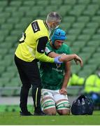 24 October 2020; Tadhg Beirne of Ireland is attended to by team doctor Dr Ciaran Cosgrave during the Guinness Six Nations Rugby Championship match between Ireland and Italy at the Aviva Stadium in Dublin. Due to current restrictions laid down by the Irish government to prevent the spread of coronavirus and to adhere to social distancing regulations, all sports events in Ireland are currently held behind closed doors. Photo by Brendan Moran/Sportsfile