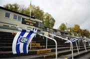 25 October 2020; Monaghan flags fly on an empty terrace prior to the Allianz Football League Division 1 Round 7 match between Monaghan and Meath at St Tiernach's Park in Clones, Monaghan. Photo by Harry Murphy/Sportsfile