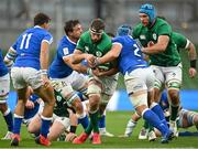 24 October 2020; Caelan Doris of Ireland Abraham Steyn, left, and Luca Bigi of Italy during the Guinness Six Nations Rugby Championship match between Ireland and Italy at the Aviva Stadium in Dublin. Due to current restrictions laid down by the Irish government to prevent the spread of coronavirus and to adhere to social distancing regulations, all sports events in Ireland are currently held behind closed doors. Photo by Seb Daly/Sportsfile