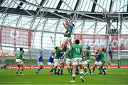 24 October 2020; James Ryan of Ireland wins possession in the lineout ahead of David Sisi of Italy during the Guinness Six Nations Rugby Championship match between Ireland and Italy at the Aviva Stadium in Dublin. Due to current restrictions laid down by the Irish government to prevent the spread of coronavirus and to adhere to social distancing regulations, all sports events in Ireland are currently held behind closed doors. Photo by Seb Daly/Sportsfile