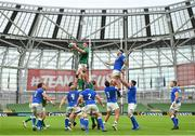 24 October 2020; James Ryan of Ireland wins possession in the lineout during the Guinness Six Nations Rugby Championship match between Ireland and Italy at the Aviva Stadium in Dublin. Due to current restrictions laid down by the Irish government to prevent the spread of coronavirus and to adhere to social distancing regulations, all sports events in Ireland are currently held behind closed doors. Photo by Seb Daly/Sportsfile