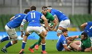 24 October 2020; Caelan Doris of Ireland in action against Abraham Steyn, left, and Mattia Bellini of Italy during the Guinness Six Nations Rugby Championship match between Ireland and Italy at the Aviva Stadium in Dublin. Due to current restrictions laid down by the Irish government to prevent the spread of coronavirus and to adhere to social distancing regulations, all sports events in Ireland are currently held behind closed doors. Photo by Seb Daly/Sportsfile