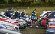 25 October 2020; Monaghan players, including Drew Wylie, right, arrive in the car park prior to the Allianz Football League Division 1 Round 7 match between Monaghan and Meath at St Tiernach's Park in Clones, Monaghan. Photo by Harry Murphy/Sportsfile