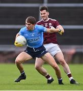 25 October 2020; Michael Fitzsimons of Dublin in action against Ian Burke of Galway during the Allianz Football League Division 1 Round 7 match between Galway and Dublin at Pearse Stadium in Galway. Photo by Ramsey Cardy/Sportsfile
