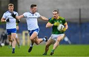 25 October 2020; Cillian O'Sullivan of Meath in action against Dessie Ward of Monaghan during the Allianz Football League Division 1 Round 7 match between Monaghan and Meath at St Tiernach's Park in Clones, Monaghan. Photo by Harry Murphy/Sportsfile