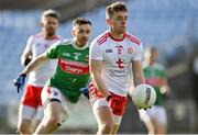 25 October 2020; Liam Rafferty of Tyrone in action against Kevin McLoughlin of Mayo during the Allianz Football League Division 1 Round 7 match between Mayo and Tyrone at Elverys MacHale Park in Castlebar, Mayo. Photo by Piaras Ó Mídheach/Sportsfile
