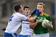 25 October 2020; Ronan Jones of Meath in action against Ryan Wylie of Monaghan during the Allianz Football League Division 1 Round 7 match between Monaghan and Meath at St Tiernach's Park in Clones, Monaghan. Photo by Harry Murphy/Sportsfile