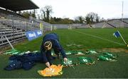 25 October 2020; Meath kitman Paddy Doyle lays out the kit prior to the Allianz Football League Division 1 Round 7 match between Monaghan and Meath at St Tiernach's Park in Clones, Monaghan. Photo by Harry Murphy/Sportsfile