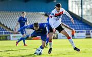25 October 2020; Michael Duffy of Dundalk in action against Darragh Power of Waterford during the SSE Airtricity League Premier Division match between Waterford and Dundalk at RSC in Waterford. Photo by Sam Barnes/Sportsfile