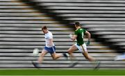 25 October 2020; Michéal Bannigan of Monaghan in action against Bryan Menton of Meath during the Allianz Football League Division 1 Round 7 match between Monaghan and Meath at St Tiernach's Park in Clones, Monaghan. Photo by Harry Murphy/Sportsfile