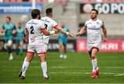 25 October 2020; John Cooney of Ulster is congratulated by team-mates John Andrew, left, and James Hume after kicking a conversion during the Guinness PRO14 match between Ulster and Dragons at Kingspan Stadium in Belfast. Photo by David Fitzgerald/Sportsfile