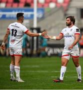 25 October 2020; John Andrew of Ulster, right, and James Hume celebrate their side's third try during the Guinness PRO14 match between Ulster and Dragons at Kingspan Stadium in Belfast. Photo by David Fitzgerald/Sportsfile