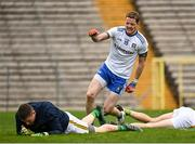 25 October 2020; Conor McManus of Monaghan celebrates after scoring his side's second goal as Andrew Colgan of Meath looks dejected during the Allianz Football League Division 1 Round 7 match between Monaghan and Meath at St Tiernach's Park in Clones, Monaghan. Photo by Harry Murphy/Sportsfile