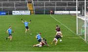 25 October 2020; Con O'Callaghan of Dublin shoots to score his side's second goal past Galway goalkeeper Bernard Power during the Allianz Football League Division 1 Round 7 match between Galway and Dublin at Pearse Stadium in Galway. Photo by Ramsey Cardy/Sportsfile