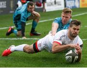 25 October 2020; Louis Ludik of Ulster dives on a loose ball to score a try during the Guinness PRO14 match between Ulster and Dragons at Kingspan Stadium in Belfast. Photo by John Dickson/Sportsfile