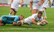 25 October 2020; Sean Reidy of Ulster dives over to score a try during the Guinness PRO14 match between Ulster and Dragons at Kingspan Stadium in Belfast. Photo by John Dickson/Sportsfile