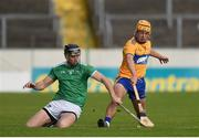 25 October 2020; David Reidy of Clare in action against Diarmaid Byrnes of Limerick during the Munster GAA Hurling Senior Championship Quarter-Final match between Limerick and Clare at Semple Stadium in Thurles, Tipperary. This game also doubles up as the Allianz Hurling League Division 1 Final as the GAA season was shortened due to the coronavirus pandemic and both teams had qualified for the final. Photo by Daire Brennan/Sportsfile