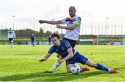 25 October 2020; Matty Smith of Waterford in action against Chris Shields of Dundalk during the SSE Airtricity League Premier Division match between Waterford and Dundalk at RSC in Waterford. Photo by Sam Barnes/Sportsfile
