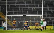 25 October 2020; Aaron Gillane of Limerick scores a point, from a free, during the Munster GAA Hurling Senior Championship Quarter-Final match between Limerick and Clare at Semple Stadium in Thurles, Tipperary. This game also doubles up as the Allianz Hurling League Division 1 Final as the GAA season was shortened due to the coronavirus pandemic and both teams had qualified for the final. Photo by Ray McManus/Sportsfile