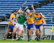 25 October 2020; Gearóid Hegarty of Limerick in action against David McInerney of Clare during the Munster GAA Hurling Senior Championship Quarter-Final match between Limerick and Clare at Semple Stadium in Thurles, Tipperary. This game also doubles up as the Allianz Hurling League Division 1 Final as the GAA season was shortened due to the coronavirus pandemic and both teams had qualified for the final. Photo by Daire Brennan/Sportsfile