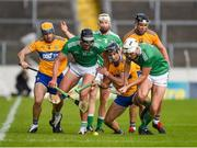 25 October 2020; Gearóid Hegarty, left, and Kyle Hayes of Limerick in action against Seadna Morey, left, and Stephen O'Halloran of Clare during the Munster GAA Hurling Senior Championship Quarter-Final match between Limerick and Clare at Semple Stadium in Thurles, Tipperary. This game also doubles up as the Allianz Hurling League Division 1 Final as the GAA season was shortened due to the coronavirus pandemic and both teams had qualified for the final. Photo by Daire Brennan/Sportsfile