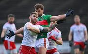 25 October 2020; Ronan McNamee of Tyrone is tackled by Aidan O'Shea of Mayo during the Allianz Football League Division 1 Round 7 match between Mayo and Tyrone at Elverys MacHale Park in Castlebar, Mayo. Photo by Piaras Ó Mídheach/Sportsfile