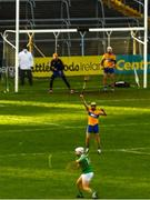 25 October 2020; Aaron Gillane of Limerick scores a point for his side during the Munster GAA Hurling Senior Championship Quarter-Final match between Limerick and Clare at Semple Stadium in Thurles, Tipperary. This game also doubles up as the Allianz Hurling League Division 1 Final as the GAA season was shortened due to the coronavirus pandemic and both teams had qualified for the final. Photo by Eóin Noonan/Sportsfile