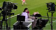 25 October 2020; The Sunday Game host Joanne Cantwell gets her make-up done ahead of the Munster GAA Hurling Senior Championship Quarter-Final match between Limerick and Clare at Semple Stadium in Thurles, Tipperary. This game also doubles up as the Allianz Hurling League Division 1 Final as the GAA season was shortened due to the coronavirus pandemic and both teams had qualified for the final. Photo by Daire Brennan/Sportsfile