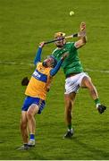 25 October 2020; Shane O'Donnell of Clare in action against Dan Morrissey of Limerick during the Munster GAA Hurling Senior Championship Quarter-Final match between Limerick and Clare at Semple Stadium in Thurles, Tipperary. This game also doubles up as the Allianz Hurling League Division 1 Final as the GAA season was shortened due to the coronavirus pandemic and both teams had qualified for the final. Photo by Eóin Noonan/Sportsfile