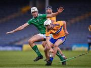 25 October 2020; Jack Browne of Clare in action against Kyle Hayes of Limerick during the Munster GAA Hurling Senior Championship Quarter-Final match between Limerick and Clare at Semple Stadium in Thurles, Tipperary. This game also doubles up as the Allianz Hurling League Division 1 Final as the GAA season was shortened due to the coronavirus pandemic and both teams had qualified for the final. Photo by Ray McManus/Sportsfile
