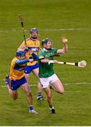25 October 2020; William O'Donoghue of Limerick is tackled by Shane O'Donnell of Clare during the Munster GAA Hurling Senior Championship Quarter-Final match between Limerick and Clare at Semple Stadium in Thurles, Tipperary. This game also doubles up as the Allianz Hurling League Division 1 Final as the GAA season was shortened due to the coronavirus pandemic and both teams had qualified for the final. Photo by Eóin Noonan/Sportsfile