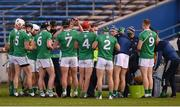 25 October 2020; The Limerick team during their water break during the Munster GAA Hurling Senior Championship Quarter-Final match between Limerick and Clare at Semple Stadium in Thurles, Tipperary. This game also doubles up as the Allianz Hurling League Division 1 Final as the GAA season was shortened due to the coronavirus pandemic and both teams had qualified for the final. Photo by Daire Brennan/Sportsfile
