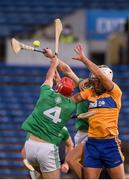 25 October 2020; Aron Shanagher of Clare in action against Barry Nash of Limerick during the Munster GAA Hurling Senior Championship Quarter-Final match between Limerick and Clare at Semple Stadium in Thurles, Tipperary. This game also doubles up as the Allianz Hurling League Division 1 Final as the GAA season was shortened due to the coronavirus pandemic and both teams had qualified for the final. Photo by Daire Brennan/Sportsfile