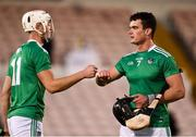 25 October 2020; Kyle Hayes, left, and Paddy O'Loughlin of Limerick celebrate after the Munster GAA Hurling Senior Championship Quarter-Final match between Limerick and Clare at Semple Stadium in Thurles, Tipperary. This game also doubles up as the Allianz Hurling League Division 1 Final as the GAA season was shortened due to the coronavirus pandemic and both teams had qualified for the final. Photo by Daire Brennan/Sportsfile