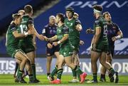 25 October 2020; Caolin Blade of Connacht celebrates his try with his team-mates during the Guinness PRO14 match between Edinburgh and Connacht at BT Murrayfield in Edinburgh, Scotland. Photo by Paul Devlin/Sportsfile