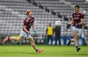 25 October 2020; Adrian Varley, left, and Liam Silke of Galway during the Allianz Football League Division 1 Round 7 match between Galway and Dublin at Pearse Stadium in Galway. Photo by Ramsey Cardy/Sportsfile