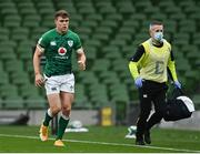 24 October 2020; Garry Ringrose of Ireland leaves the pitch with a jaw injury, accompanied by Ireland team doctor Dr Ciaran Cosgrove during the Guinness Six Nations Rugby Championship match between Ireland and Italy at the Aviva Stadium in Dublin. Due to current restrictions laid down by the Irish government to prevent the spread of coronavirus and to adhere to social distancing regulations, all sports events in Ireland are currently held behind closed doors. Photo by Ramsey Cardy/Sportsfile