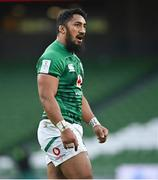 24 October 2020; Bundee Aki of Ireland during the Guinness Six Nations Rugby Championship match between Ireland and Italy at the Aviva Stadium in Dublin. Due to current restrictions laid down by the Irish government to prevent the spread of coronavirus and to adhere to social distancing regulations, all sports events in Ireland are currently held behind closed doors. Photo by Ramsey Cardy/Sportsfile
