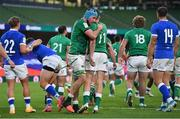 24 October 2020; Will Connors, left, is congratulated by Ireland team-mate Hugo Keenan, 11, after scoring a try during the Guinness Six Nations Rugby Championship match between Ireland and Italy at the Aviva Stadium in Dublin. Due to current restrictions laid down by the Irish government to prevent the spread of coronavirus and to adhere to social distancing regulations, all sports events in Ireland are currently held behind closed doors. Photo by Ramsey Cardy/Sportsfile