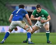 24 October 2020; Ross Byrne of Ireland during the Guinness Six Nations Rugby Championship match between Ireland and Italy at the Aviva Stadium in Dublin. Due to current restrictions laid down by the Irish government to prevent the spread of coronavirus and to adhere to social distancing regulations, all sports events in Ireland are currently held behind closed doors. Photo by Ramsey Cardy/Sportsfile