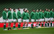 24 October 2020; The Ireland team ahead of the Guinness Six Nations Rugby Championship match between Ireland and Italy at the Aviva Stadium in Dublin. Due to current restrictions laid down by the Irish government to prevent the spread of coronavirus and to adhere to social distancing regulations, all sports events in Ireland are currently held behind closed doors. Photo by Ramsey Cardy/Sportsfile