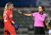 23 October 2020; Referee Ivana Martincic and Iryna Sanina of Ukraine during the UEFA Women's EURO 2022 Qualifier match between Ukraine and Republic of Ireland at the Obolon Arena in Kyiv, Ukraine. Photo by Stephen McCarthy/Sportsfile
