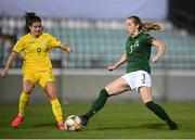 23 October 2020; Megan Connolly of Republic of Ireland in action against Nicole Kozlova of Ukraine during the UEFA Women's EURO 2022 Qualifier match between Ukraine and Republic of Ireland at the Obolon Arena in Kyiv, Ukraine. Photo by Stephen McCarthy/Sportsfile