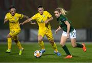 23 October 2020; Denise O'Sullivan of Republic of Ireland in action against Nadiya Kunina, 10, and Tamila Khimich of Ukraine during the UEFA Women's EURO 2022 Qualifier match between Ukraine and Republic of Ireland at the Obolon Arena in Kyiv, Ukraine. Photo by Stephen McCarthy/Sportsfile