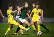 23 October 2020; Ruesha Littlejohn of Republic of Ireland in action against Tamila Khimich of Ukraine during the UEFA Women's EURO 2022 Qualifier match between Ukraine and Republic of Ireland at the Obolon Arena in Kyiv, Ukraine. Photo by Stephen McCarthy/Sportsfile