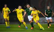 23 October 2020; Katie McCabe of Republic of Ireland in action against Iya Andrushchak, 14, and Anastasia Filenko of Ukraine during the UEFA Women's EURO 2022 Qualifier match between Ukraine and Republic of Ireland at the Obolon Arena in Kyiv, Ukraine. Photo by Stephen McCarthy/Sportsfile