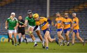 25 October 2020; Rory Hayes of Clare in action against Gearóid Hegarty of Limerick during the Munster GAA Hurling Senior Championship Quarter-Final match between Limerick and Clare at Semple Stadium in Thurles, Tipperary. This game also doubles up as the Allianz Hurling League Division 1 Final as the GAA season was shortened due to the coronavirus pandemic and both teams had qualified for the final. Photo by Ray McManus/Sportsfile