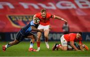 26 October 2020; Mike Haley of Munster is tackled by Rey Lee-Lo of Cardiff Blues during the Guinness PRO14 match between Munster and Cardiff Blues at Thomond Park in Limerick. Photo by Ramsey Cardy/Sportsfile
